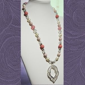 Silver Pink Pearl Jewelry Set